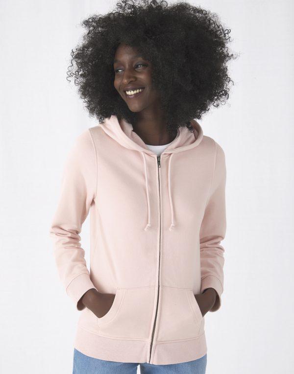 Felpa cappuccio e zip sgarzata organica stampa digitale donna